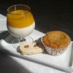Café ou thé gourmand : biscuit, gâteau cœur coulant chocolat, panna cotta