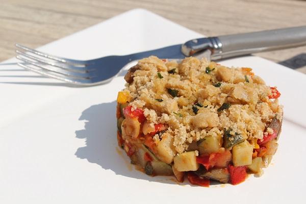Repas rapide : crumble de légumes sans gluten, sans oeuf, sans lactose